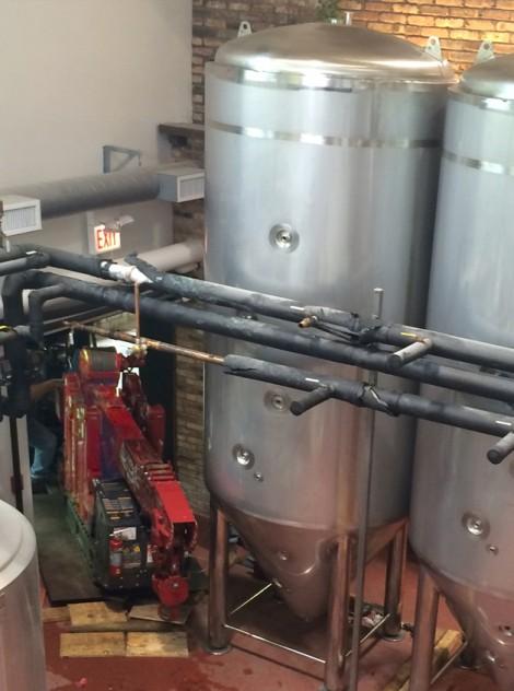 Spydercrane at rest at Pollyanna Brewery